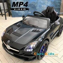Электромобиль Mercedes-Benz SLS AMG Carbon Edition MP4 (сенсорный дисплей, колеса резина, сиденье кожа, пульт, музыка, электроусилитель)
